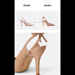 New Zara Vestaire Collection Woven nude  Slingback
